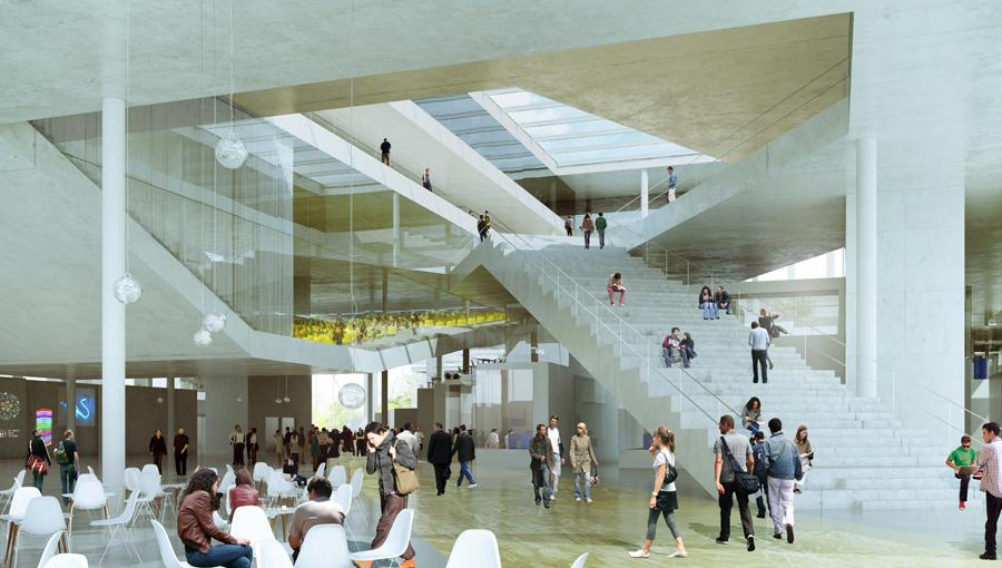 Vue de l?espace d?accueil de la future Ecole Centrale Paris sur le campus de Saclay (« Hall of fame », amphithéâtres, atrium et restaurant), par OM